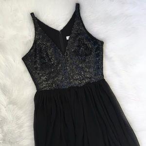 Dress The Population Black Sequin Maxi Dress